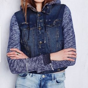 NWOT Free People distressed jean jacket sweater